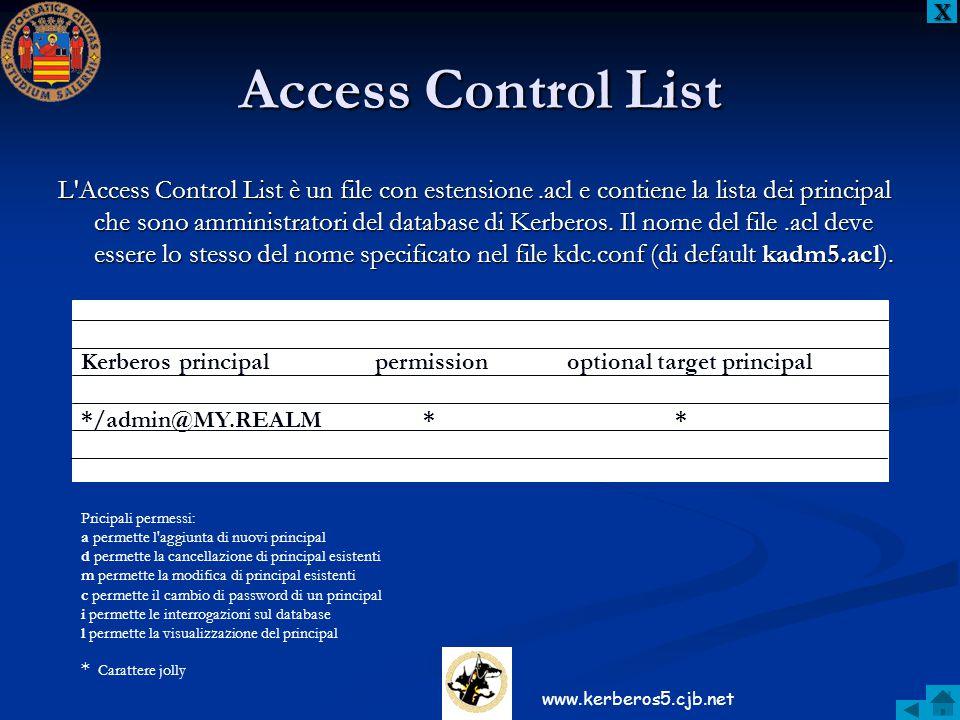 Access Control List L'Access Control List è un file con estensione.acl e contiene la lista dei principal che sono amministratori del database di Kerbe