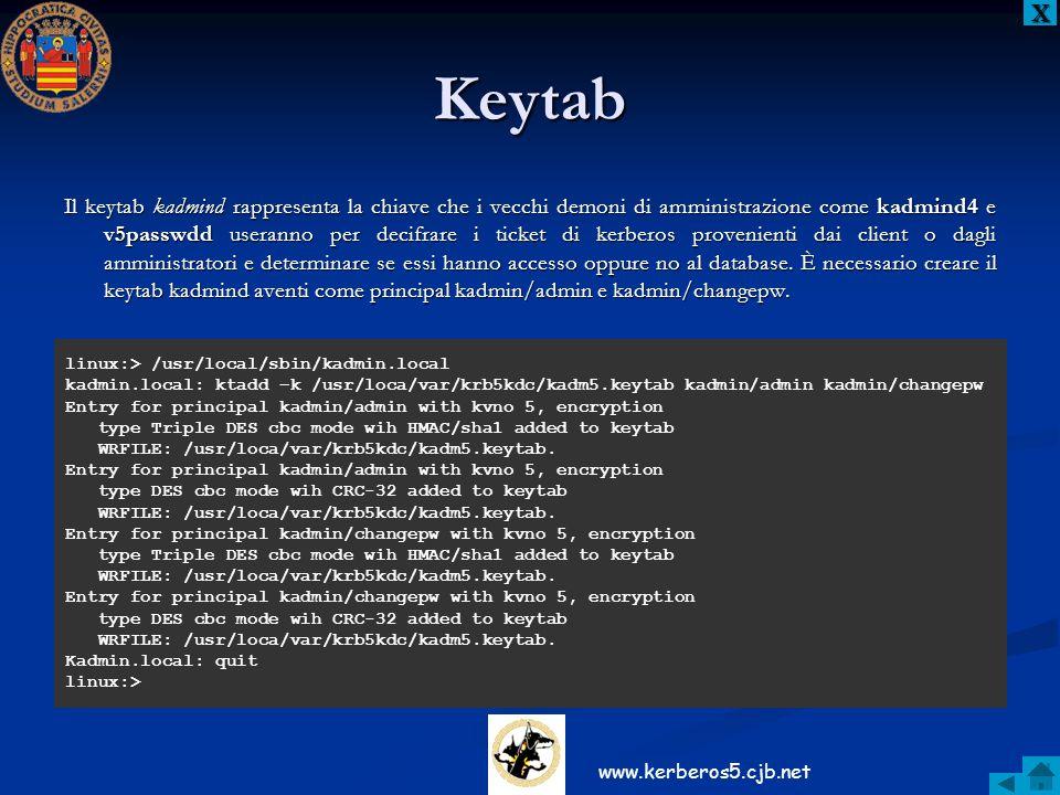 Keytab Il keytab kadmind rappresenta la chiave che i vecchi demoni di amministrazione come kadmind4 e v5passwdd useranno per decifrare i ticket di ker