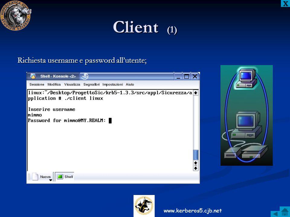 Richiesta username e password all'utente; XXXX Client (1) www.kerberos5.cjb.net
