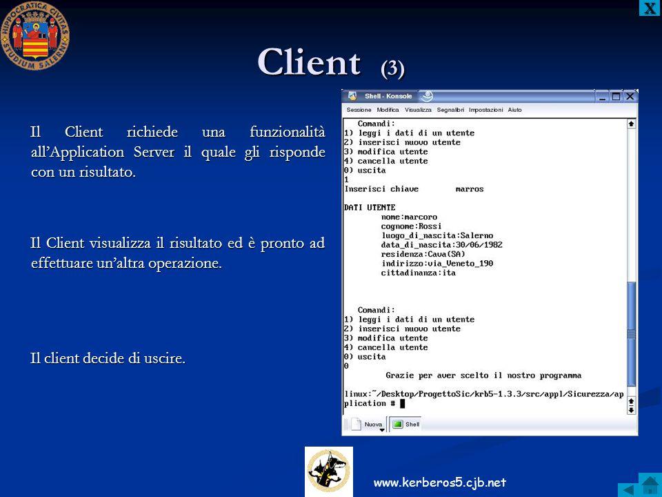 Client (3) XXXX Il Client richiede una funzionalità all'Application Server il quale gli risponde con un risultato. Il Client visualizza il risultato e
