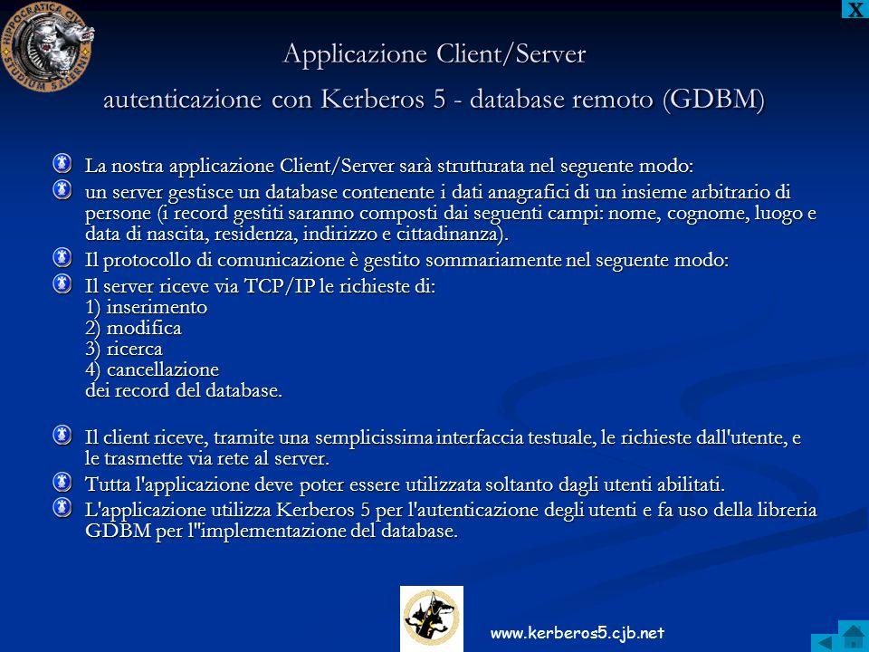 Applicazione Client/Server autenticazione con Kerberos 5 - database remoto (GDBM) La nostra applicazione Client/Server sarà strutturata nel seguente m