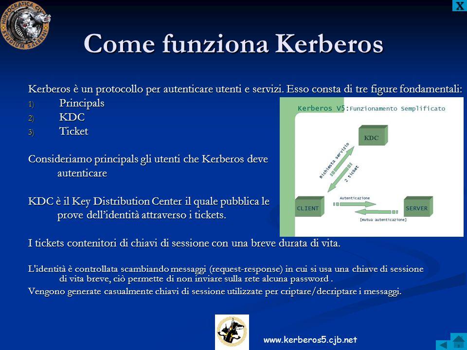 Come funziona Kerberos Kerberos è un protocollo per autenticare utenti e servizi. Esso consta di tre figure fondamentali: 1) Principals 2) KDC 3) Tick