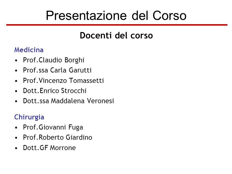 Presentazione del Corso Docenti del corso Medicina Prof.Claudio Borghi Prof.ssa Carla Garutti Prof.Vincenzo Tomassetti Dott.Enrico Strocchi Dott.ssa M