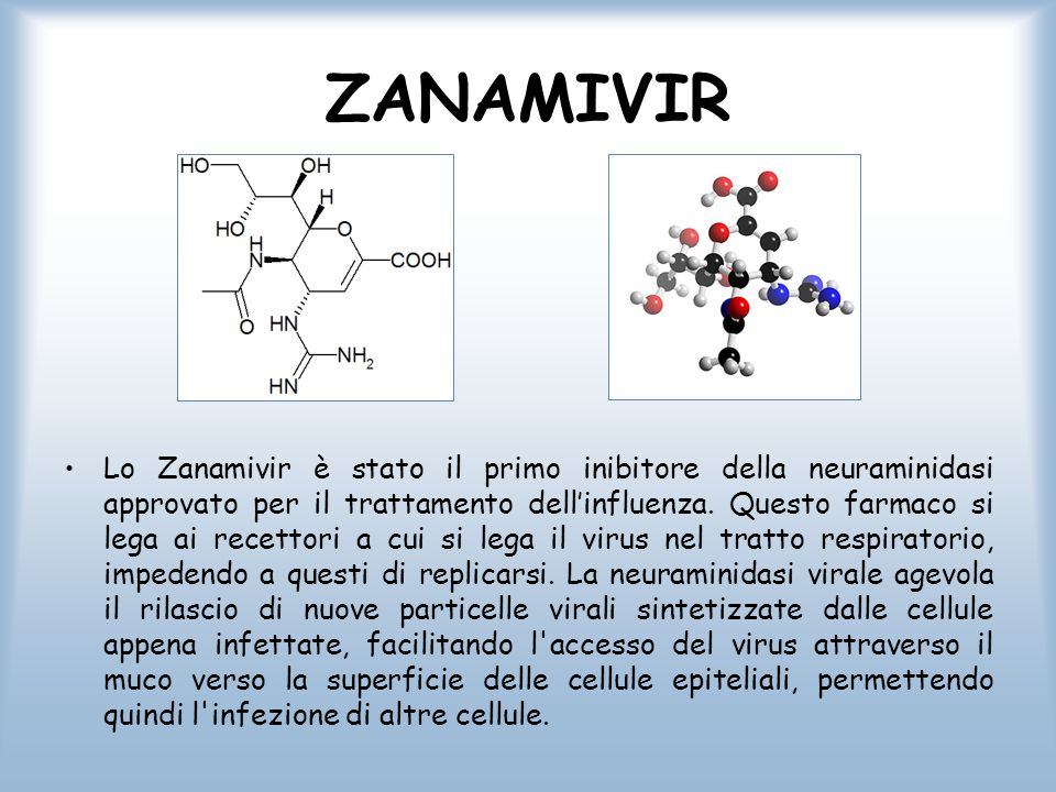ZANAMIVIR Lo Zanamivir è stato il primo inibitore della neuraminidasi approvato per il trattamento dell'influenza. Questo farmaco si lega ai recettori