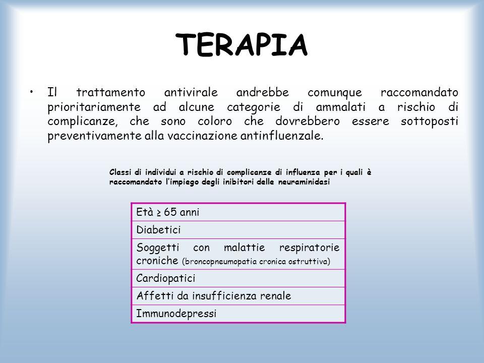 TERAPIA Il trattamento antivirale andrebbe comunque raccomandato prioritariamente ad alcune categorie di ammalati a rischio di complicanze, che sono c
