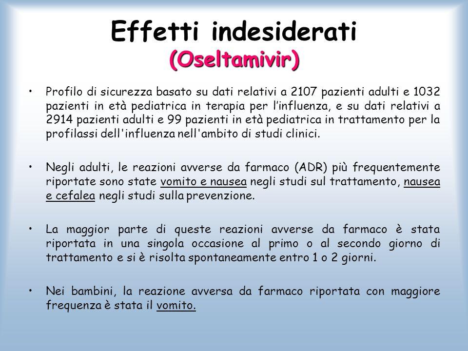 Effetti indesiderati (Oseltamivir) Profilo di sicurezza basato su dati relativi a 2107 pazienti adulti e 1032 pazienti in età pediatrica in terapia pe