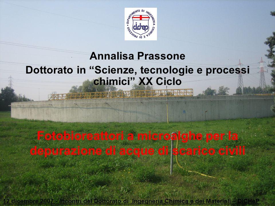32 12 dicembre 2007 - Incontri del Dottorato di Ingegneria Chimica e dei Materiali – DICHeP Analogamente presso i laboratori del DICheP si è proceduto ad una sperimentazione in batch con la stessa coltura algale e lo stesso refluo di alimentazione.