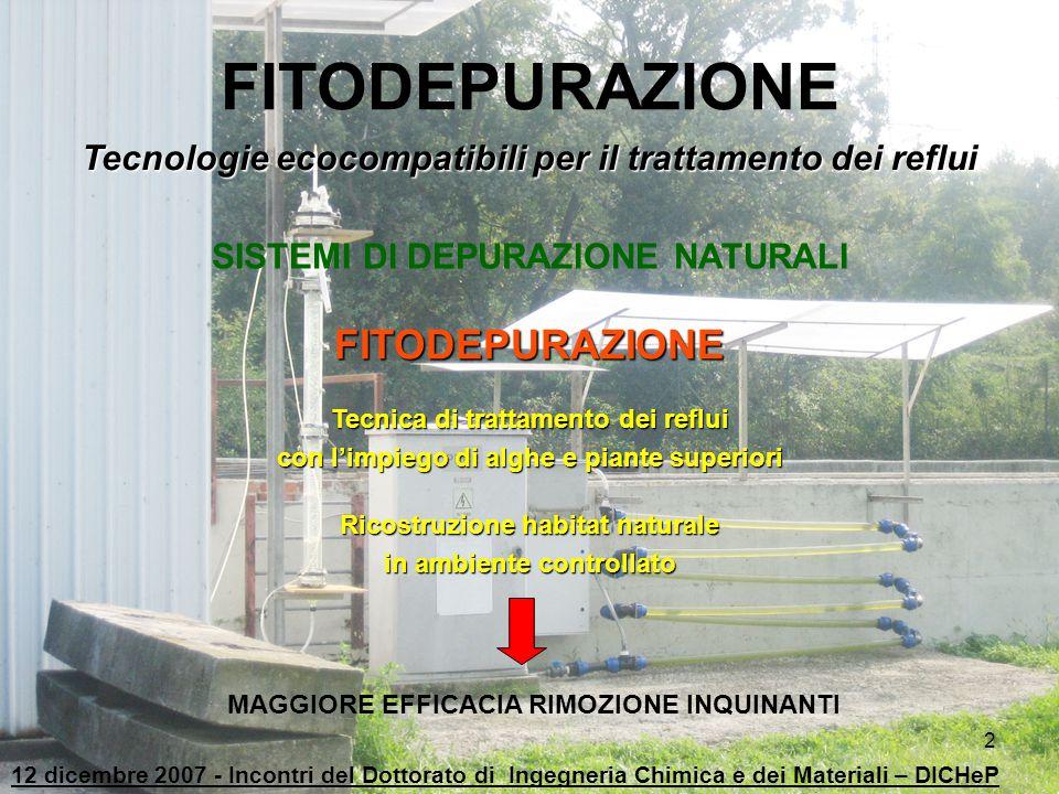2 FITODEPURAZIONE Tecnologie ecocompatibili per il trattamento dei reflui SISTEMI DI DEPURAZIONE NATURALI FITODEPURAZIONE Tecnica di trattamento dei r