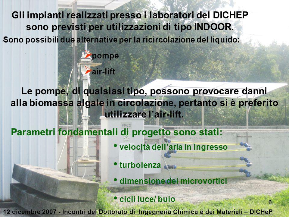 6 Gli impianti realizzati presso i laboratori del DICHEP sono previsti per utilizzazioni di tipo INDOOR. Sono possibili due alternative per la ricirco