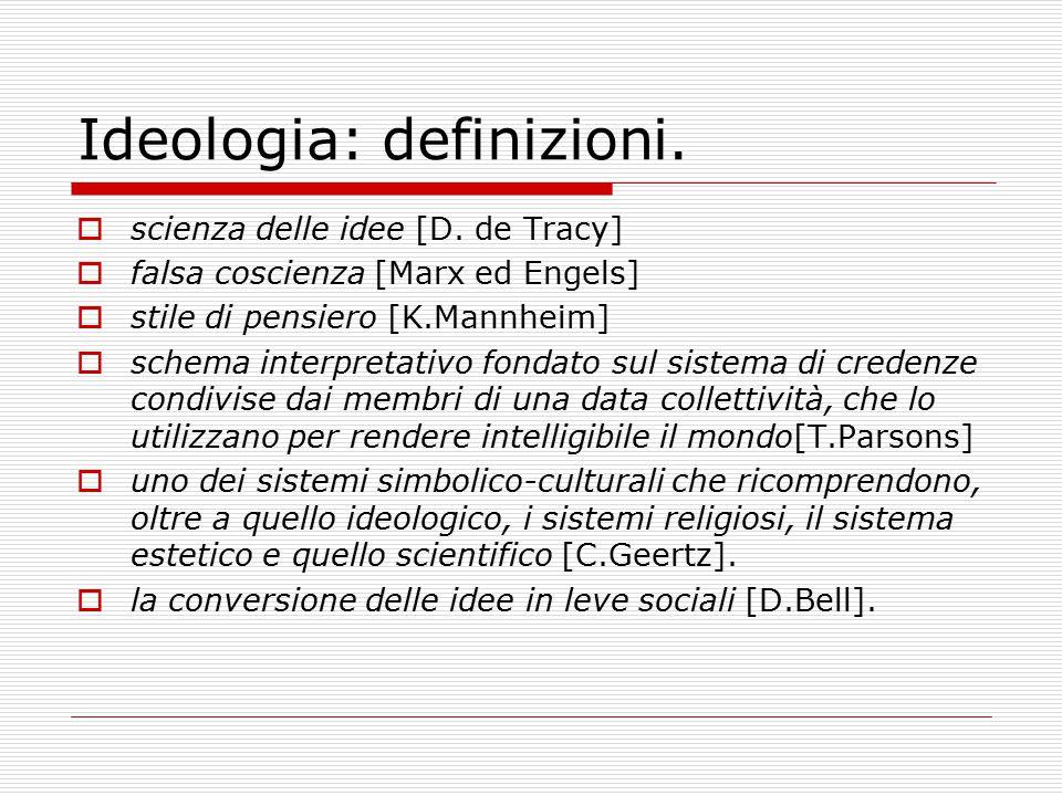 Ideologia: definizioni.  scienza delle idee [D. de Tracy]  falsa coscienza [Marx ed Engels]  stile di pensiero [K.Mannheim]  schema interpretativo