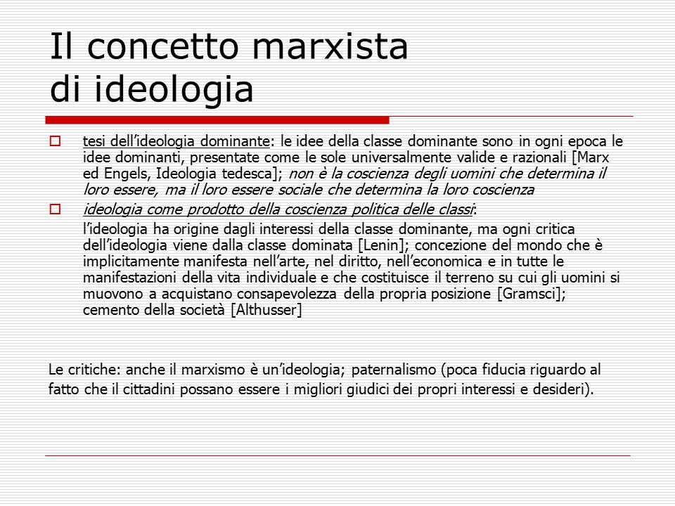 Il concetto marxista di ideologia  tesi dell'ideologia dominante: le idee della classe dominante sono in ogni epoca le idee dominanti, presentate com