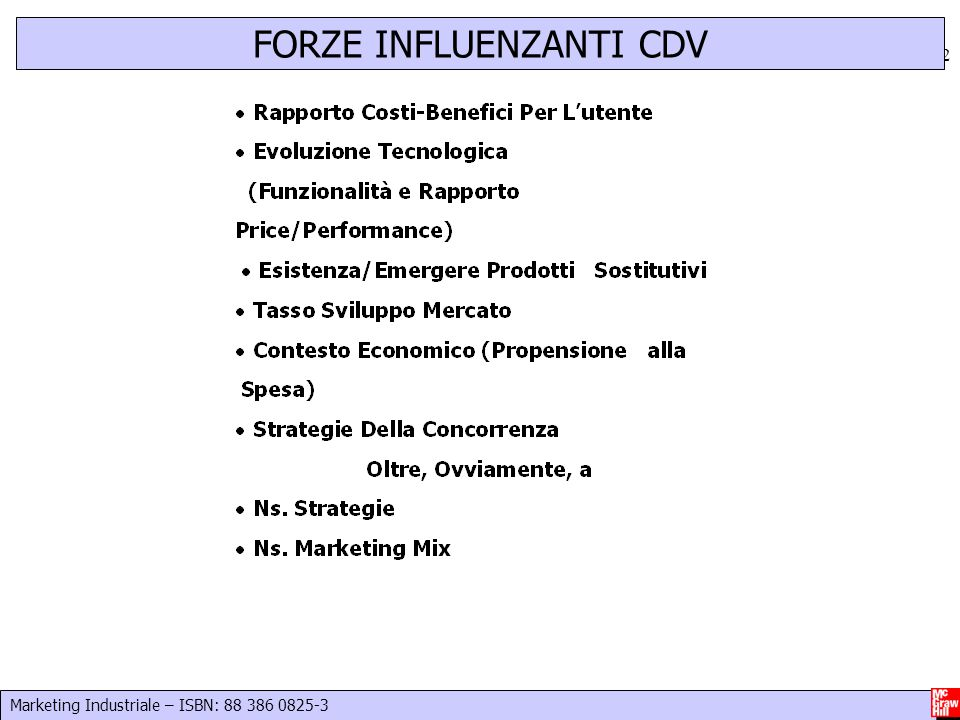 Marketing Industriale – ISBN: 88 386 0825-3 12 FORZE INFLUENZANTI CDV