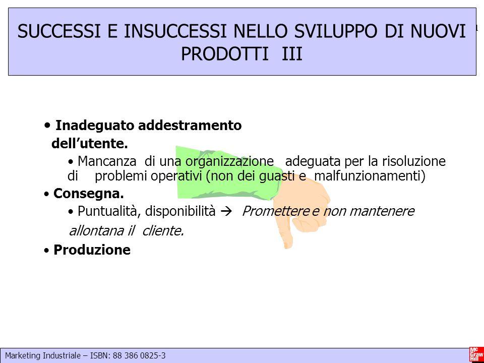 Marketing Industriale – ISBN: 88 386 0825-3 21 SUCCESSI E INSUCCESSI NELLO SVILUPPO DI NUOVI PRODOTTI III Inadeguato addestramento dell'utente. Mancan
