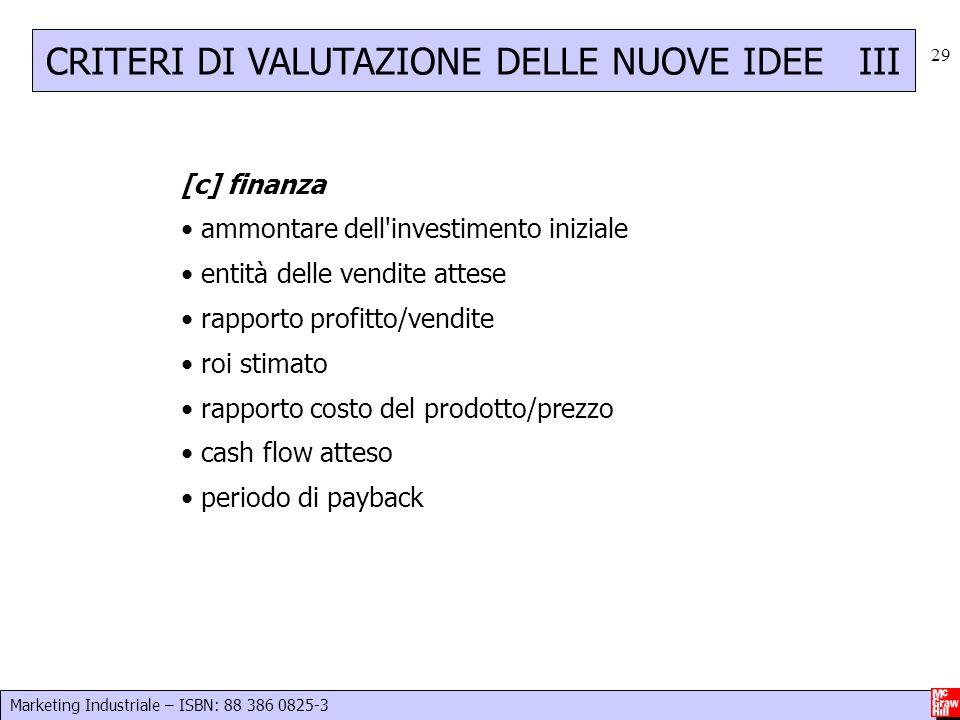 Marketing Industriale – ISBN: 88 386 0825-3 29 [c] finanza ammontare dell'investimento iniziale entità delle vendite attese rapporto profitto/vendite