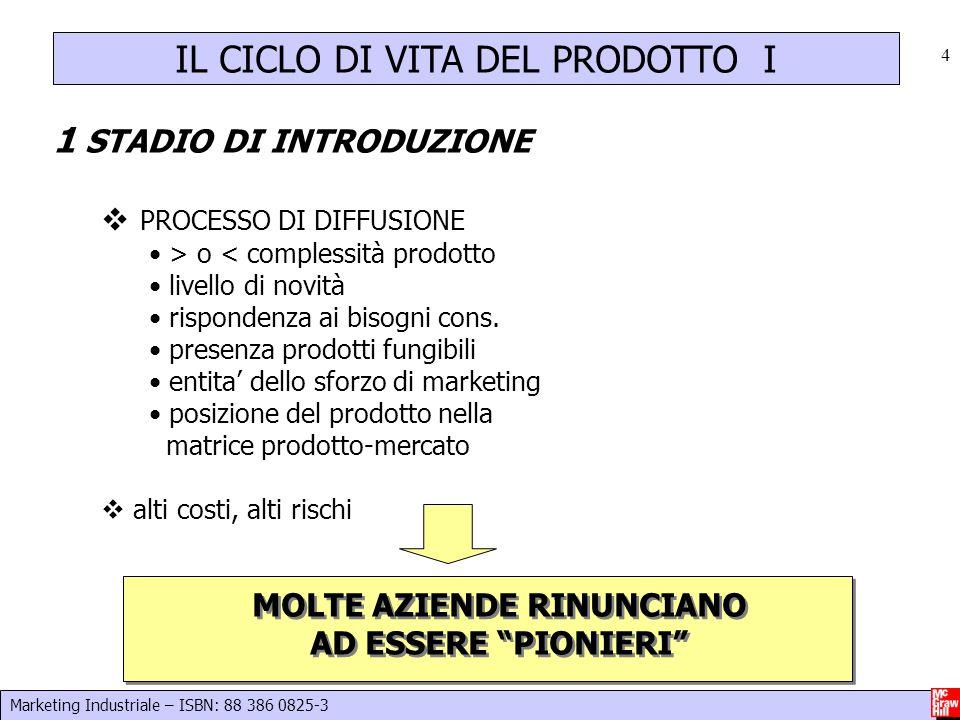 Marketing Industriale – ISBN: 88 386 0825-3 4 IL CICLO DI VITA DEL PRODOTTO I 1 STADIO DI INTRODUZIONE  PROCESSO DI DIFFUSIONE > o < complessità prod