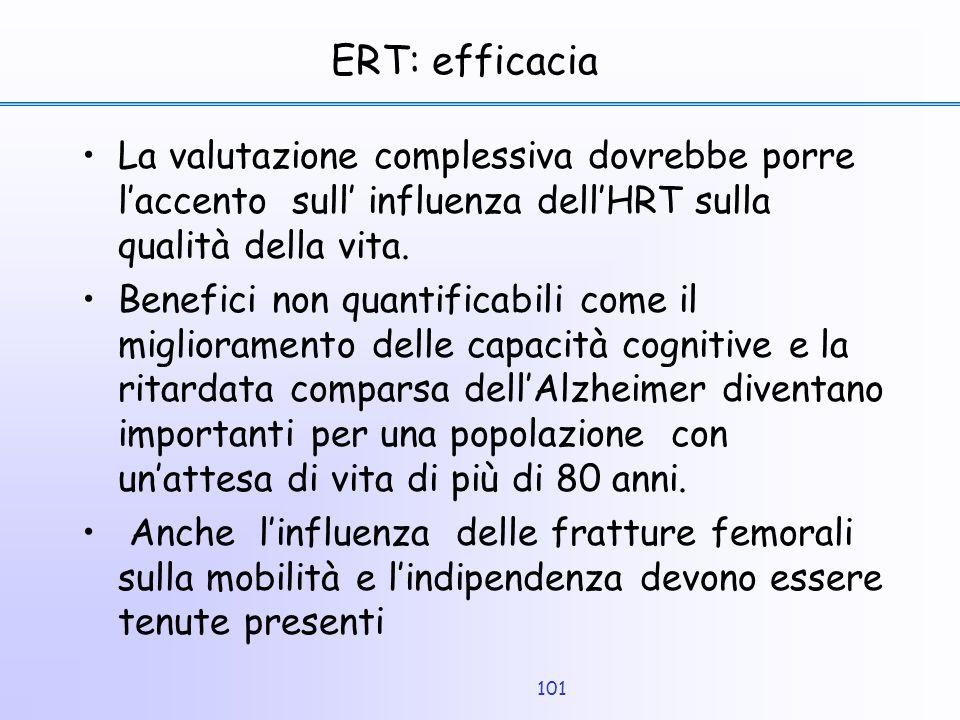 101 ERT: efficacia La valutazione complessiva dovrebbe porre l'accento sull' influenza dell'HRT sulla qualità della vita. Benefici non quantificabili