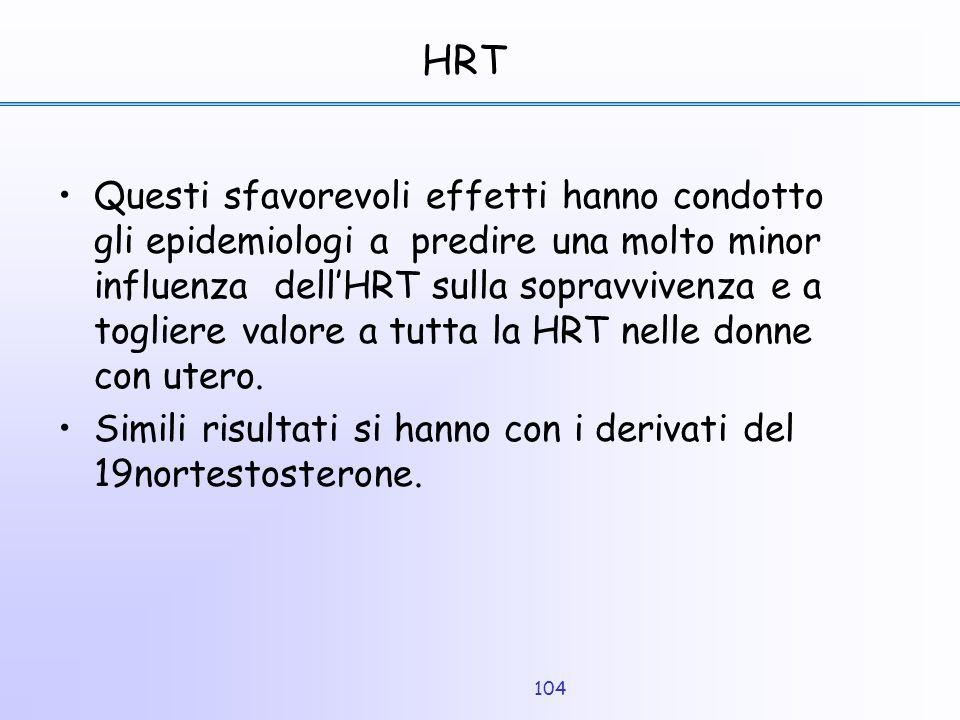 104 HRT Questi sfavorevoli effetti hanno condotto gli epidemiologi a predire una molto minor influenza dell'HRT sulla sopravvivenza e a togliere valor
