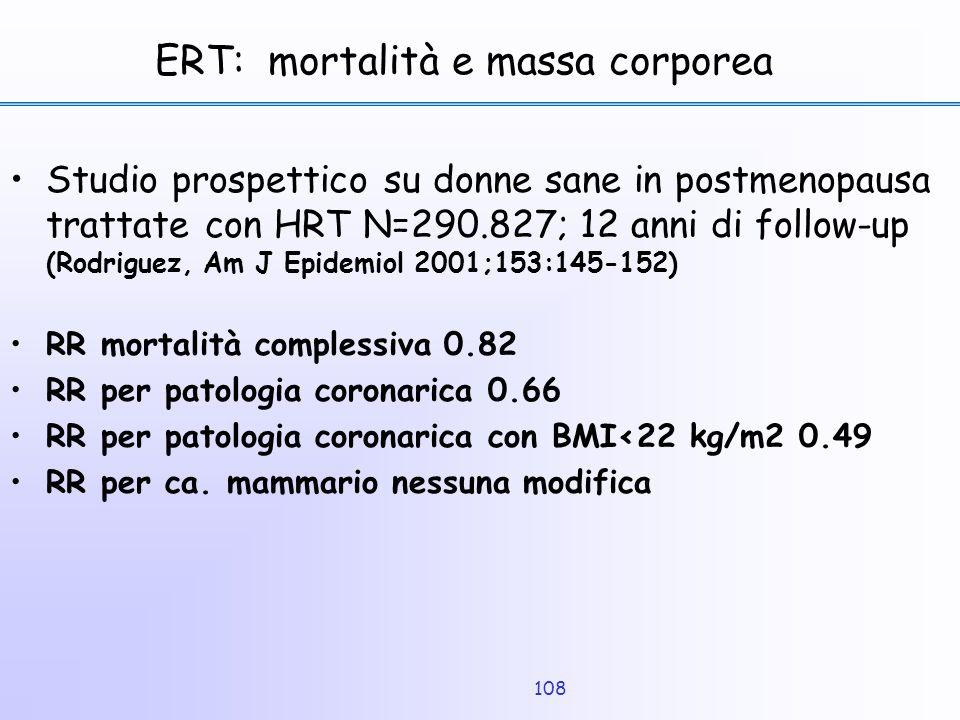 108 ERT: mortalità e massa corporea Studio prospettico su donne sane in postmenopausa trattate con HRT N=290.827; 12 anni di follow-up (Rodriguez, Am