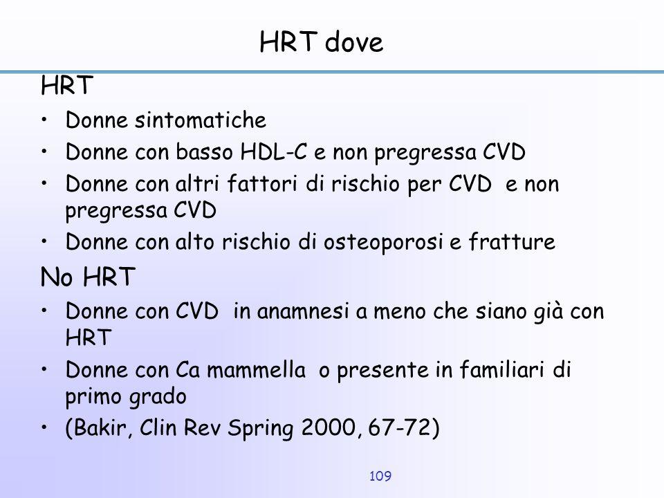 109 HRT dove HRT Donne sintomatiche Donne con basso HDL-C e non pregressa CVD Donne con altri fattori di rischio per CVD e non pregressa CVD Donne con
