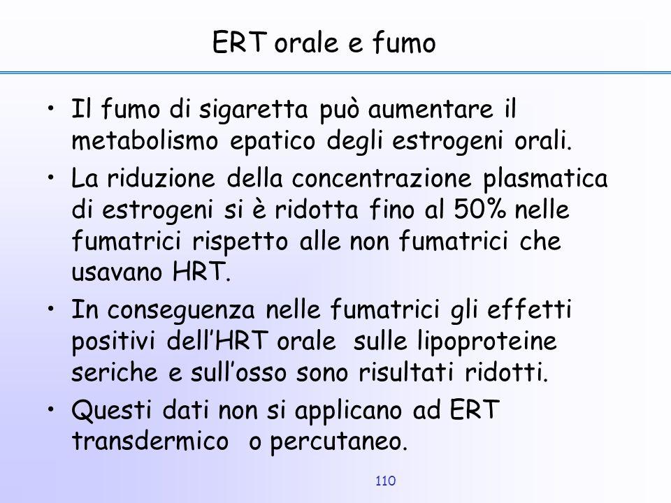 110 ERT orale e fumo Il fumo di sigaretta può aumentare il metabolismo epatico degli estrogeni orali. La riduzione della concentrazione plasmatica di