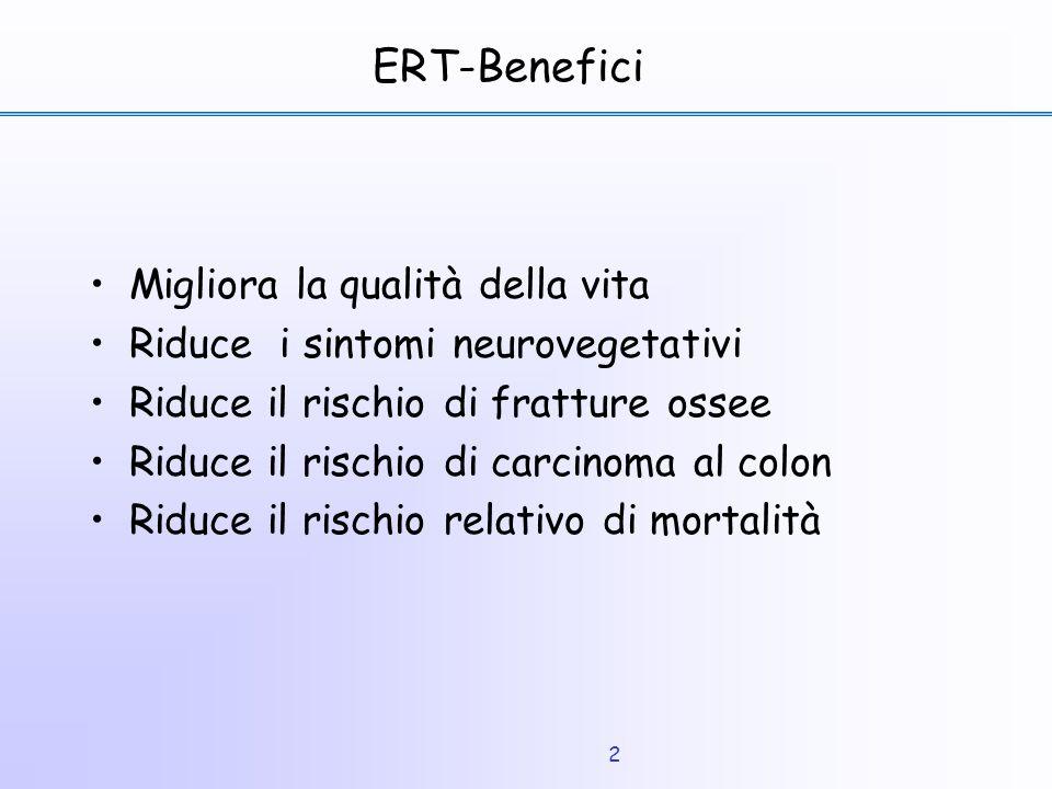 2 ERT-Benefici Migliora la qualità della vita Riduce i sintomi neurovegetativi Riduce il rischio di fratture ossee Riduce il rischio di carcinoma al c