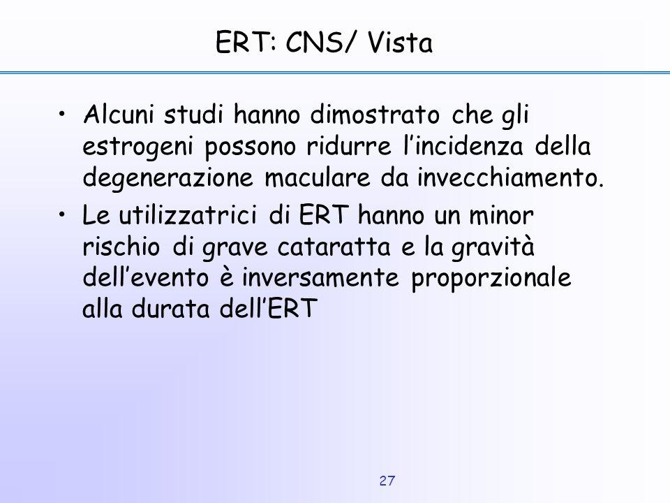 27 ERT: CNS/ Vista Alcuni studi hanno dimostrato che gli estrogeni possono ridurre l'incidenza della degenerazione maculare da invecchiamento. Le util