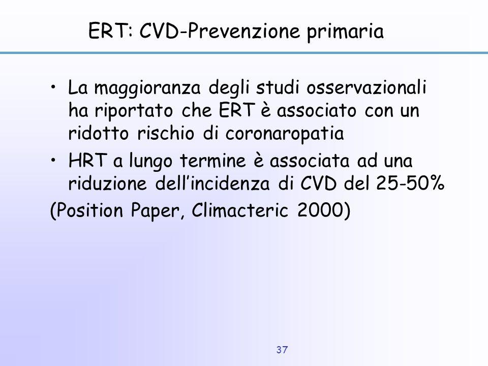 37 ERT: CVD-Prevenzione primaria La maggioranza degli studi osservazionali ha riportato che ERT è associato con un ridotto rischio di coronaropatia HR