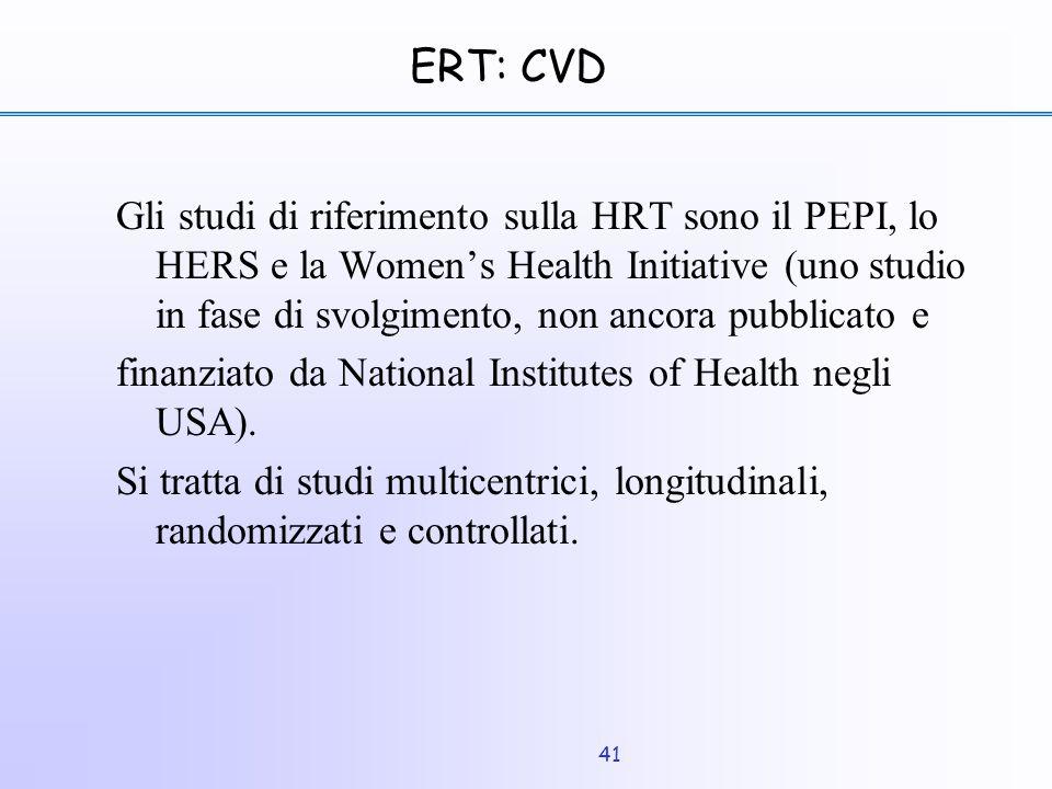 41 ERT: CVD Gli studi di riferimento sulla HRT sono il PEPI, lo HERS e la Women's Health Initiative (uno studio in fase di svolgimento, non ancora pub