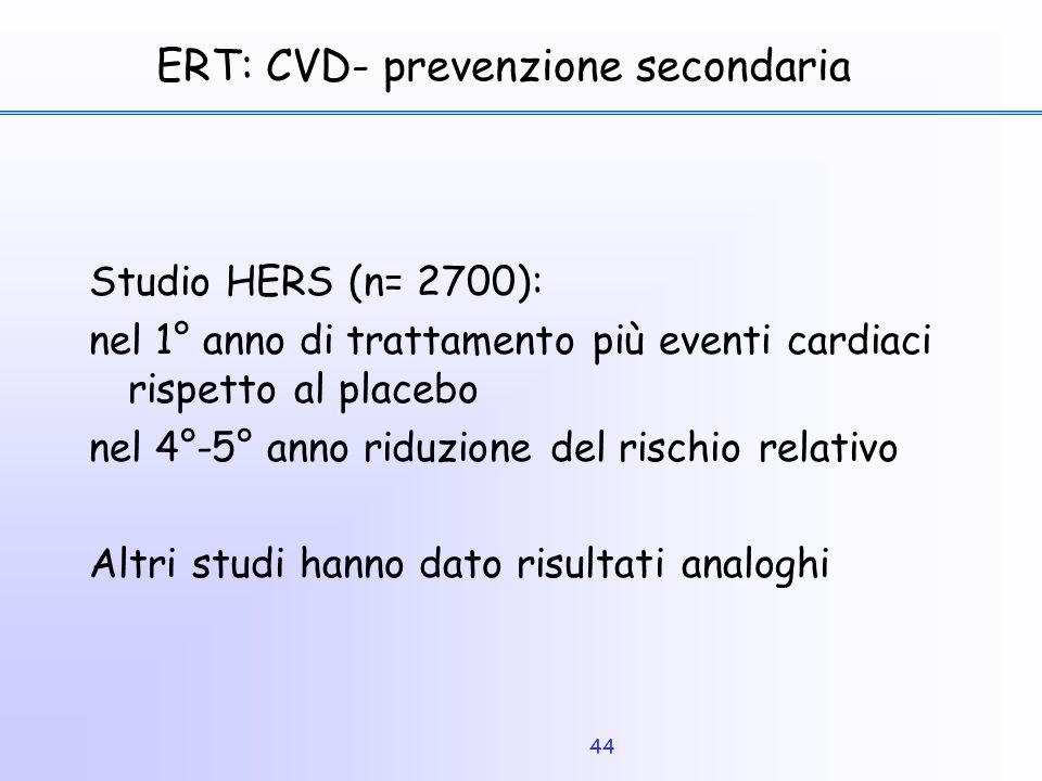 44 ERT: CVD- prevenzione secondaria Studio HERS (n= 2700): nel 1° anno di trattamento più eventi cardiaci rispetto al placebo nel 4°-5° anno riduzione