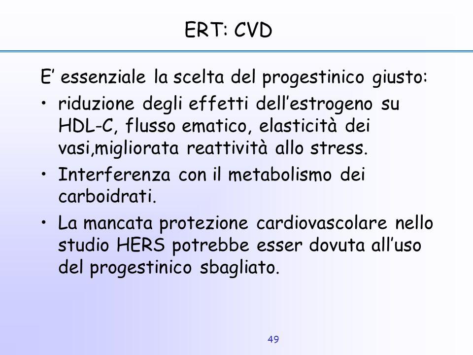 49 ERT: CVD E' essenziale la scelta del progestinico giusto: riduzione degli effetti dell'estrogeno su HDL-C, flusso ematico, elasticità dei vasi,migl