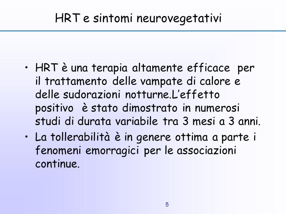5 HRT e sintomi neurovegetativi HRT è una terapia altamente efficace per il trattamento delle vampate di calore e delle sudorazioni notturne.L'effetto