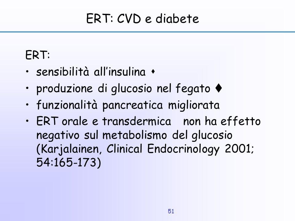 51 ERT: CVD e diabete ERT: sensibilità all'insulina  produzione di glucosio nel fegato  funzionalità pancreatica migliorata ERT orale e transdermica