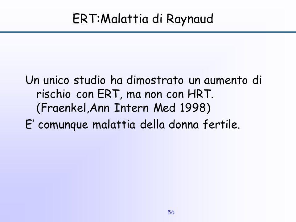 56 ERT:Malattia di Raynaud Un unico studio ha dimostrato un aumento di rischio con ERT, ma non con HRT. (Fraenkel,Ann Intern Med 1998) E' comunque mal