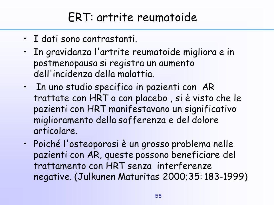 58 ERT: artrite reumatoide I dati sono contrastanti. In gravidanza l'artrite reumatoide migliora e in postmenopausa si registra un aumento dell'incide