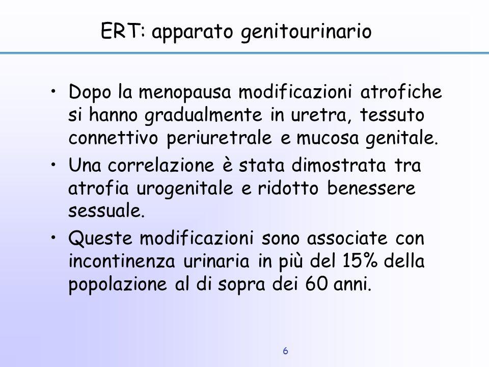 6 ERT: apparato genitourinario Dopo la menopausa modificazioni atrofiche si hanno gradualmente in uretra, tessuto connettivo periuretrale e mucosa gen
