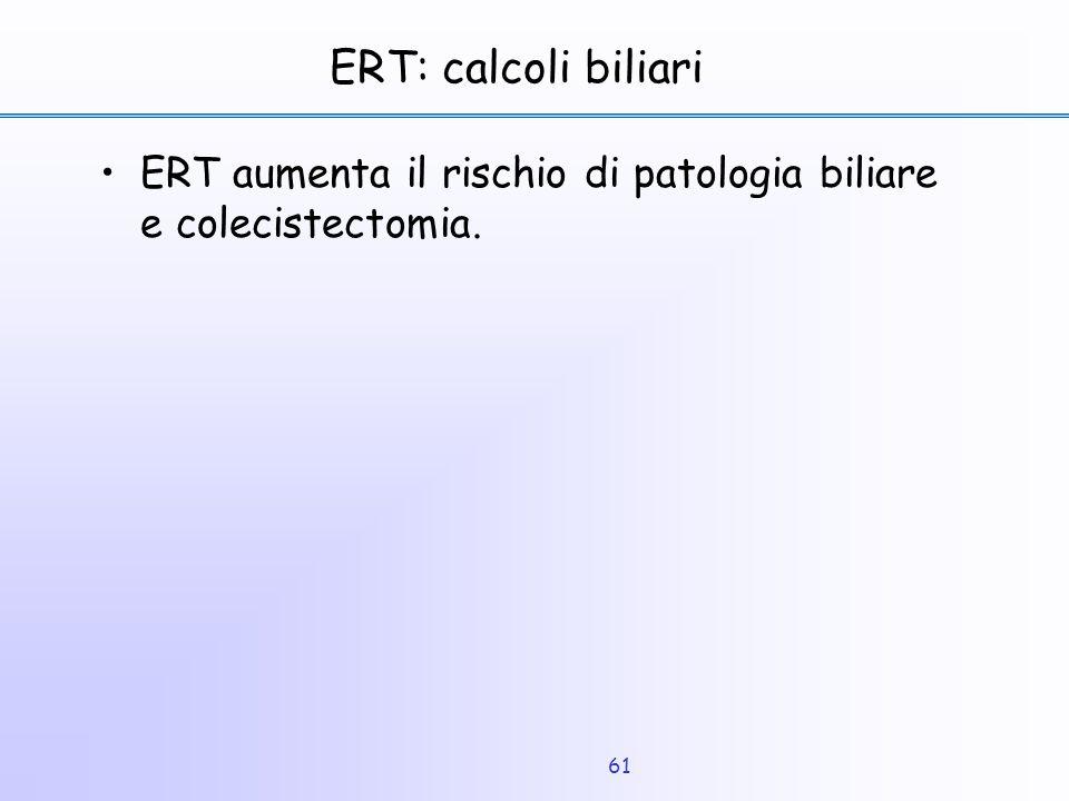 61 ERT: calcoli biliari ERT aumenta il rischio di patologia biliare e colecistectomia.