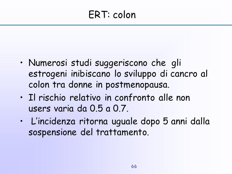 66 ERT: colon Numerosi studi suggeriscono che gli estrogeni inibiscano lo sviluppo di cancro al colon tra donne in postmenopausa. Il rischio relativo