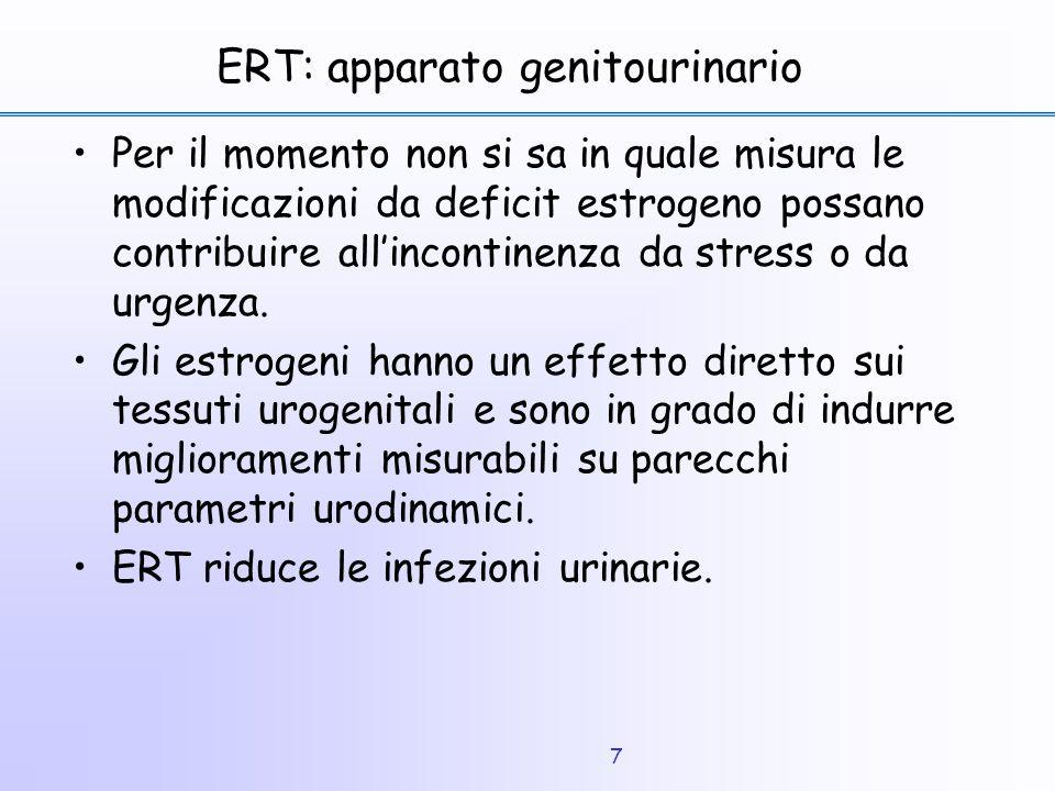 7 ERT: apparato genitourinario Per il momento non si sa in quale misura le modificazioni da deficit estrogeno possano contribuire all'incontinenza da