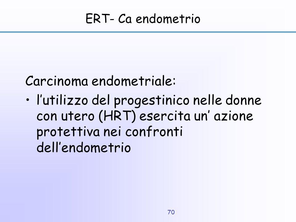 70 ERT- Ca endometrio Carcinoma endometriale: l'utilizzo del progestinico nelle donne con utero (HRT) esercita un' azione protettiva nei confronti del