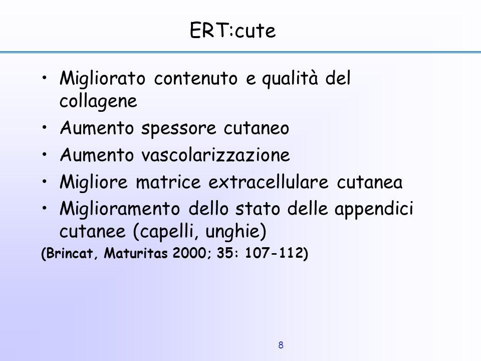 8 ERT:cute Migliorato contenuto e qualità del collagene Aumento spessore cutaneo Aumento vascolarizzazione Migliore matrice extracellulare cutanea Mig