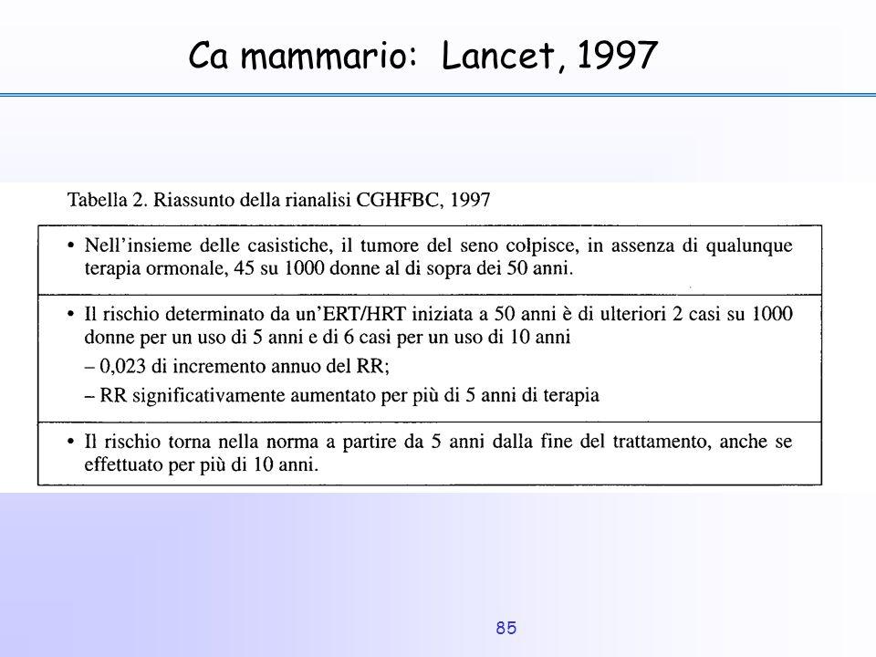 85 Ca mammario: Lancet, 1997