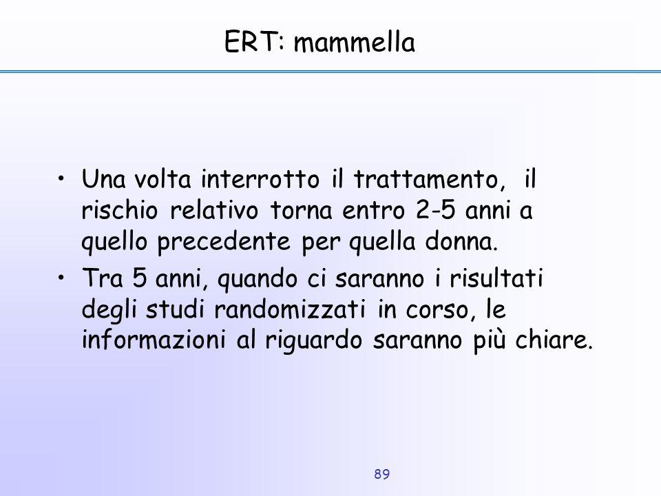 89 ERT: mammella Una volta interrotto il trattamento, il rischio relativo torna entro 2-5 anni a quello precedente per quella donna. Tra 5 anni, quand