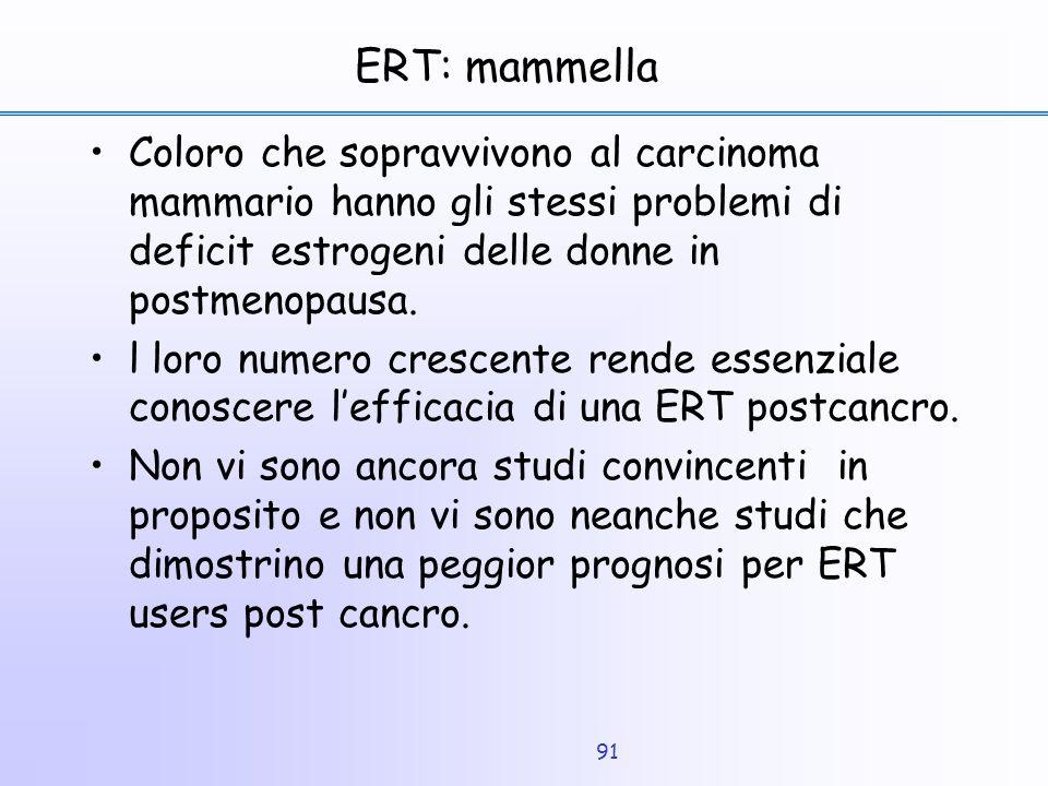 91 ERT: mammella Coloro che sopravvivono al carcinoma mammario hanno gli stessi problemi di deficit estrogeni delle donne in postmenopausa. l loro num