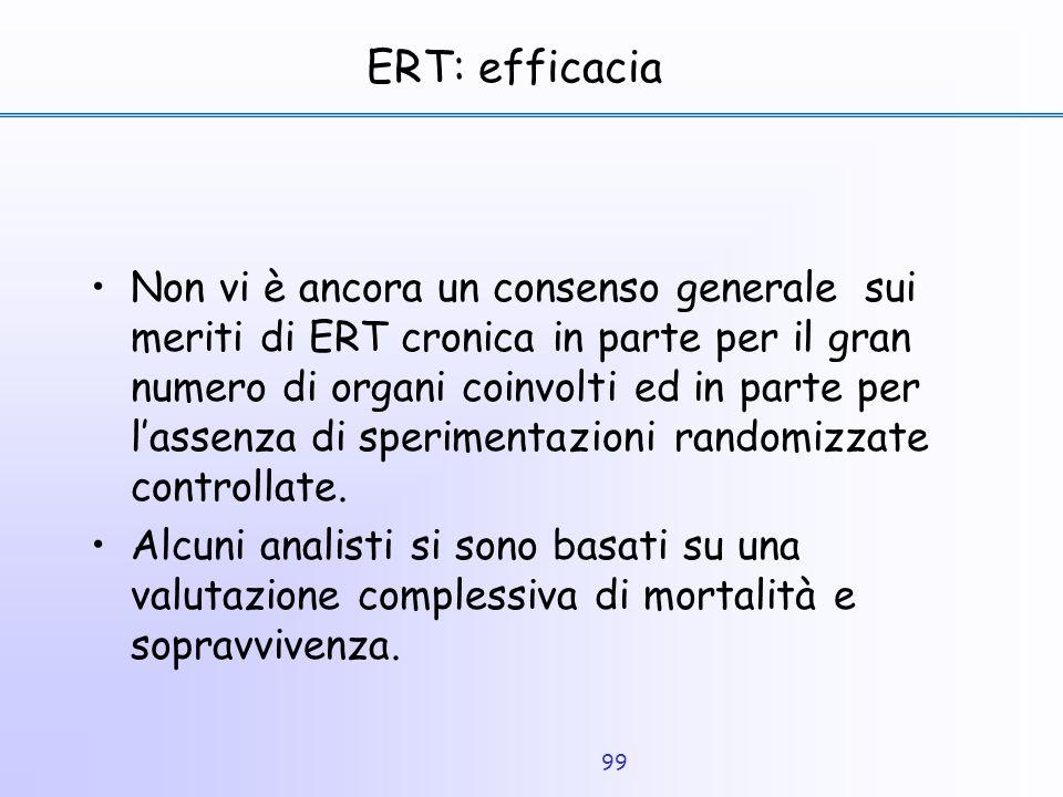 99 ERT: efficacia Non vi è ancora un consenso generale sui meriti di ERT cronica in parte per il gran numero di organi coinvolti ed in parte per l'ass
