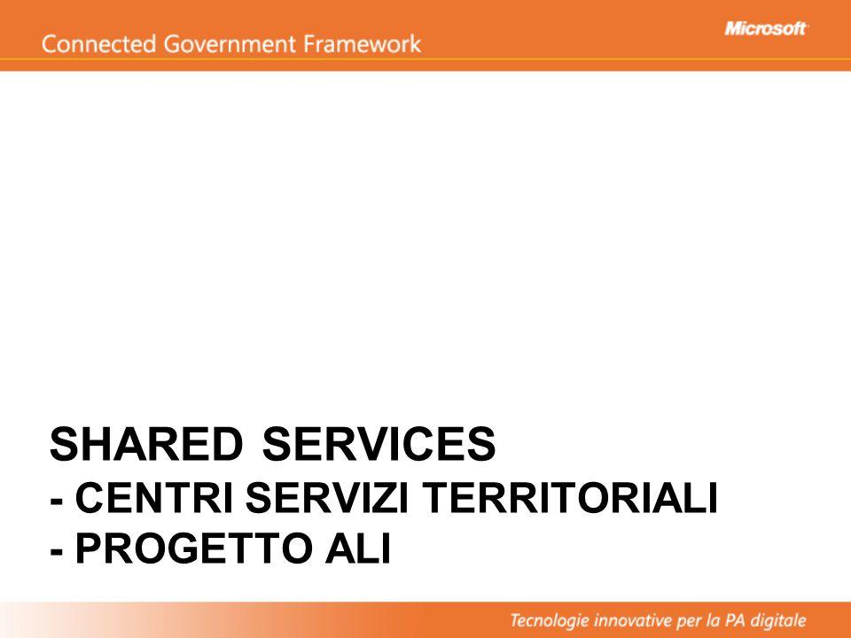SHARED SERVICES - CENTRI SERVIZI TERRITORIALI - PROGETTO ALI