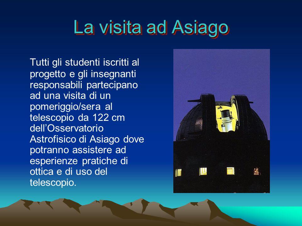 La visita ad Asiago Tutti gli studenti iscritti al progetto e gli insegnanti responsabili partecipano ad una visita di un pomeriggio/sera al telescopio da 122 cm dell'Osservatorio Astrofisico di Asiago dove potranno assistere ad esperienze pratiche di ottica e di uso del telescopio.