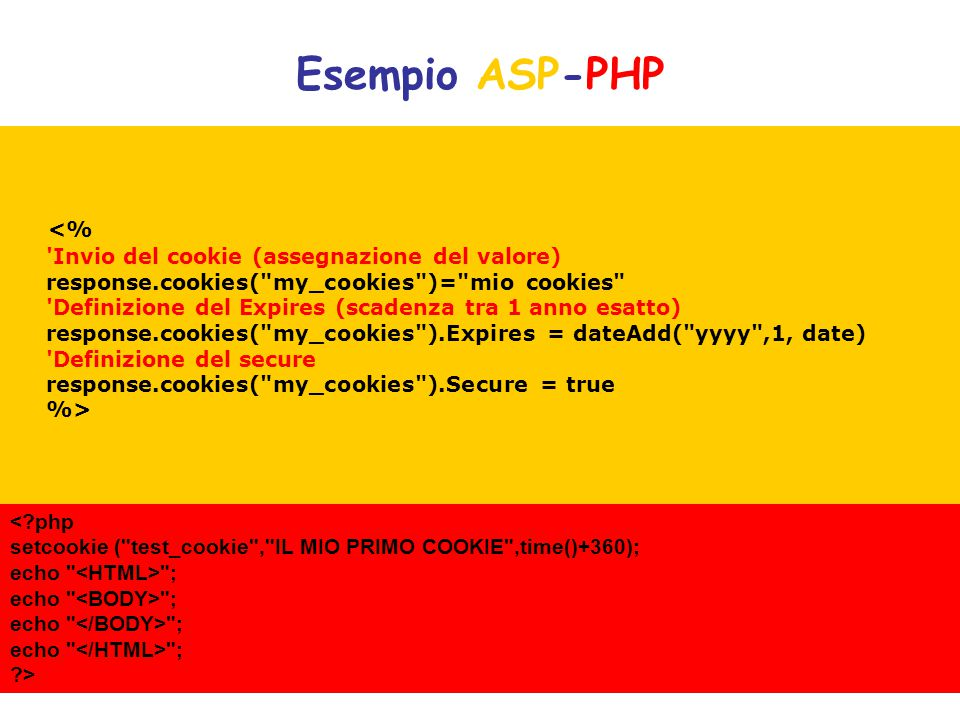 Esempio ASP-PHP <?php setcookie (