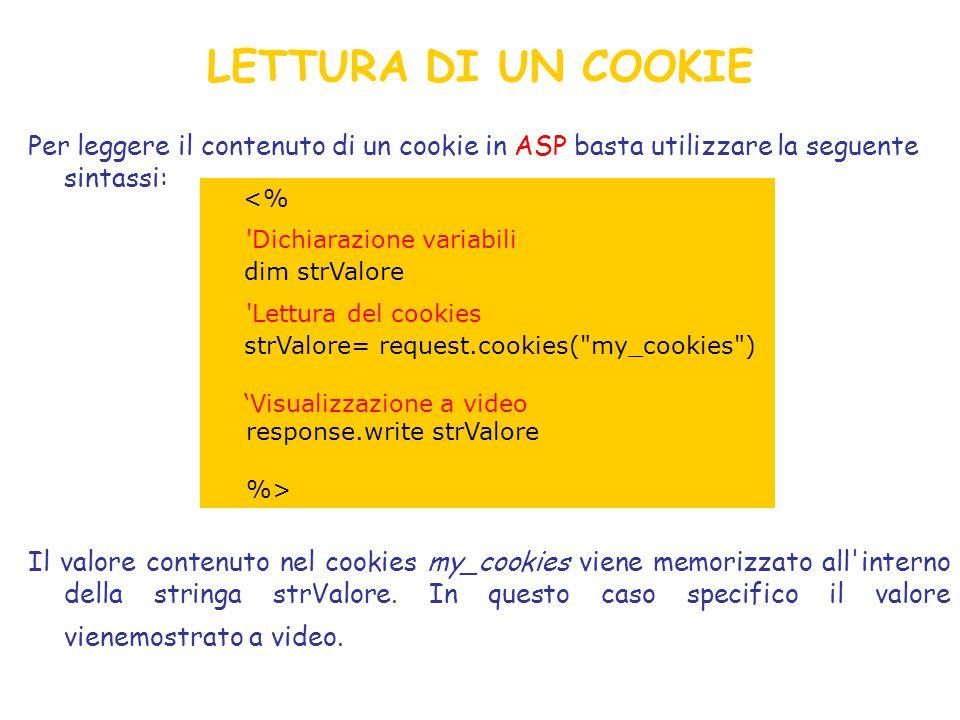 LETTURA DI UN COOKIE Per leggere il contenuto di un cookie in ASP basta utilizzare la seguente sintassi: Il valore contenuto nel cookies my_cookies viene memorizzato all interno della stringa strValore.