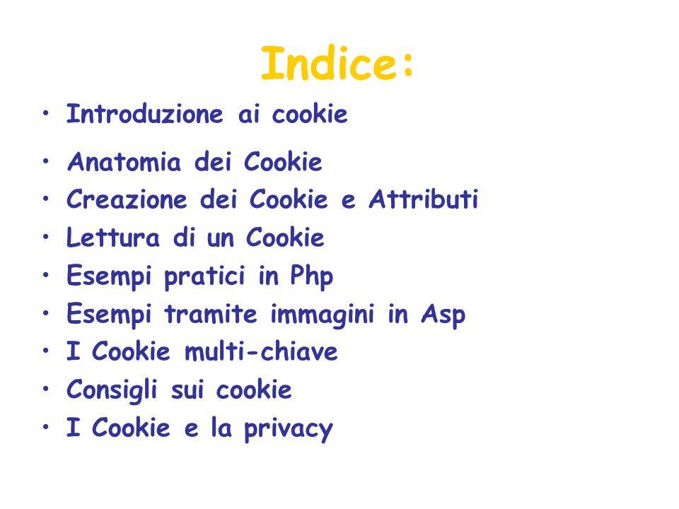 Indice: Introduzione ai cookie Anatomia dei Cookie Creazione dei Cookie e Attributi Lettura di un Cookie Esempi pratici in Php Esempi tramite immagini in Asp I Cookie multi-chiave Consigli sui cookie I Cookie e la privacy