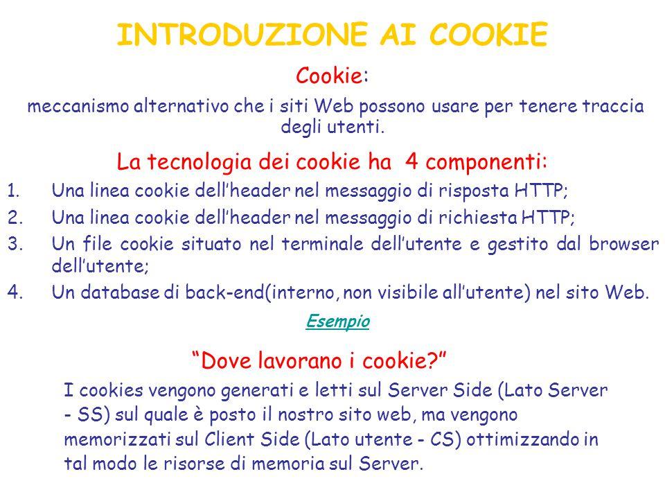 Cookie: meccanismo alternativo che i siti Web possono usare per tenere traccia degli utenti.